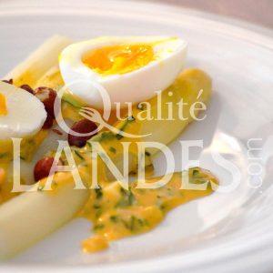Recette d'Asperges des Sables des Landes IGP, sauce gribiche, oeuf mollet, copeaux de magret fumé et cacahuètes de Soustons