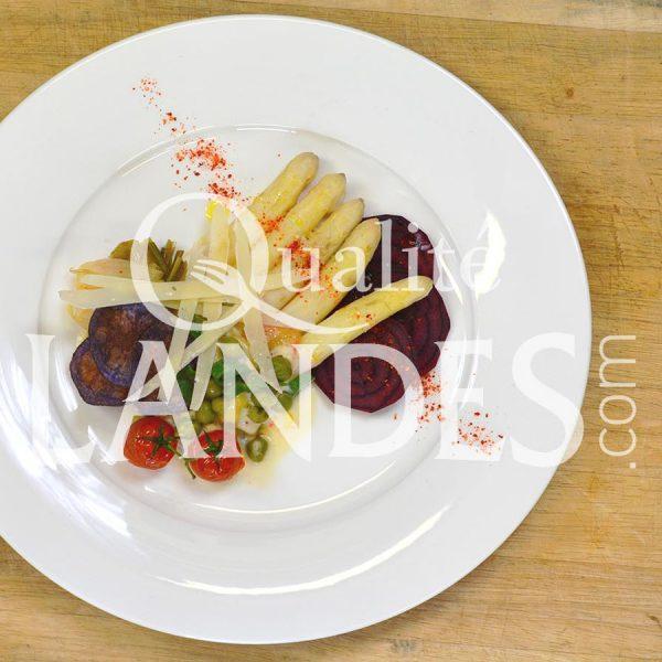 Recette de Salade d'Asperge des Sables des Landes IGP, ravioles ricotta/citron vert, crème coco/passion et parmesan
