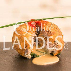 Recette de Cromesquis de Canard Fermier des Landes et son coeur coulant au foie gras