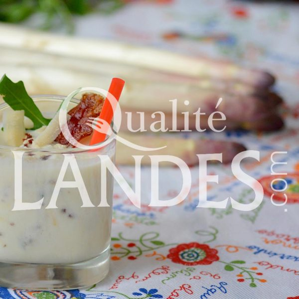 Recette de Gaspacho d'Asperge des Sables des Landes IGP, roquette, parmesan et jambon de pays